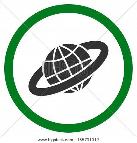 Planetary Ring vector bicolor rounded icon. Image style is a flat icon symbol inside a circle, green and gray colors, white background.