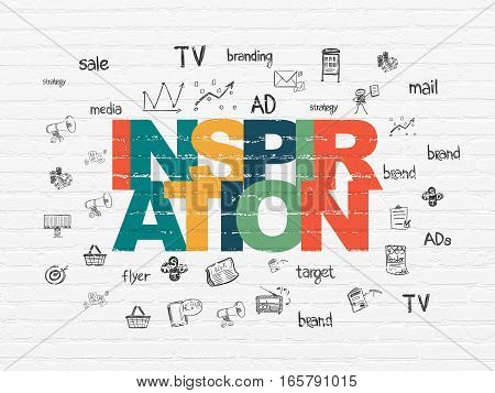 Advertising concept: Painted multicolor text Inspiration on White Brick wall background with  Hand Drawn Marketing Icons