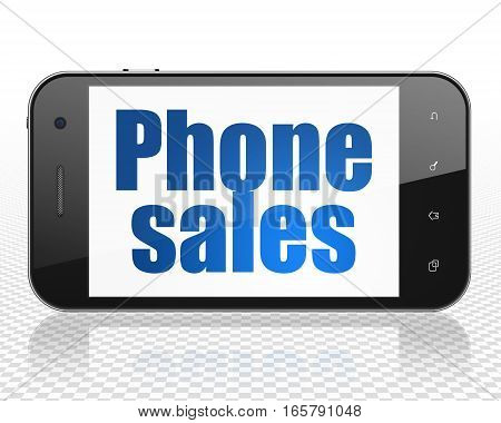 Marketing concept: Smartphone with blue text Phone Sales on display, 3D rendering