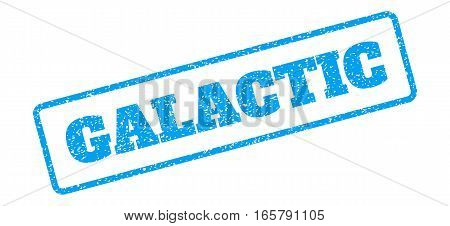 Blue rubber seal stamp with Galactic text. Vector tag inside rounded rectangular banner. Grunge design and scratched texture for watermark labels. Inclined blue sticker on a white background.