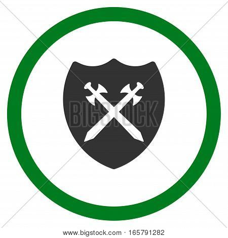 Security Shield vector bicolor rounded icon. Image style is a flat icon symbol inside a circle, green and gray colors, white background.