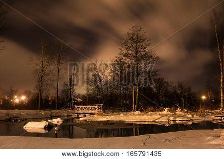 Night river, Leningrad region, Karelian isthmus, Russia