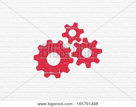 Marketing concept: Painted red Gears icon on White Brick wall background