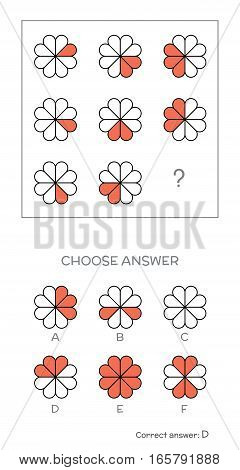 IQ test. Choose correct answer. Logical tasks composed of geometric flower shapes. Vector illustration
