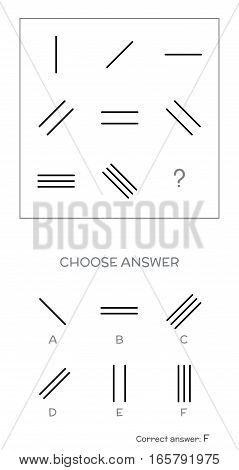 IQ test. Choose correct answer. Logical tasks composed of geometric lines. Vector illustration