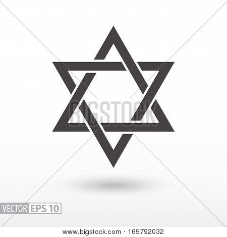 Star of David. Star flat icon. Sign Star. Vector logo for web design, mobile and infographics. Vector illustration eps 10. Isolated on white background.