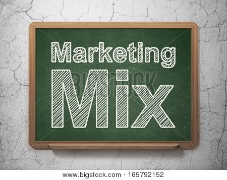 Marketing concept: text Marketing Mix on Green chalkboard on grunge wall background, 3D rendering