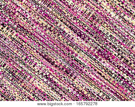 Digital art abstract pattern. Pink diagonal image in a pink pixel art style