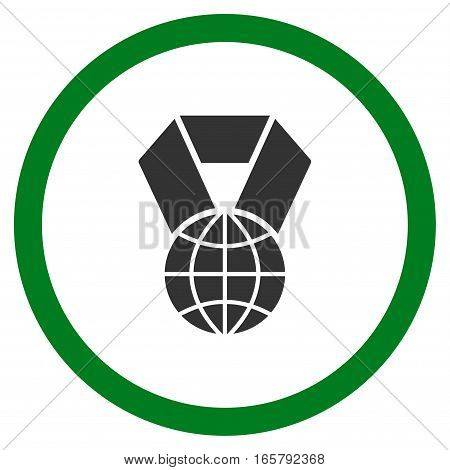 World Award vector bicolor rounded icon. Image style is a flat icon symbol inside a circle, green and gray colors, white background.