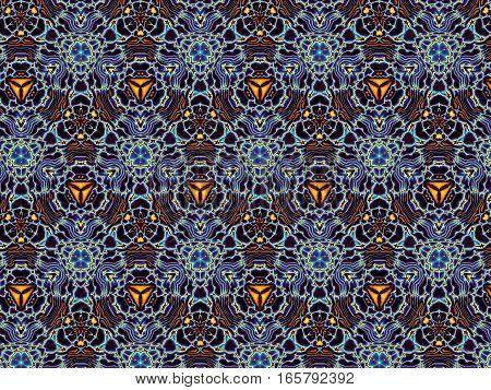 Geometric decorative blue symmetrical ornamental pattern. Abstract horizontal background.