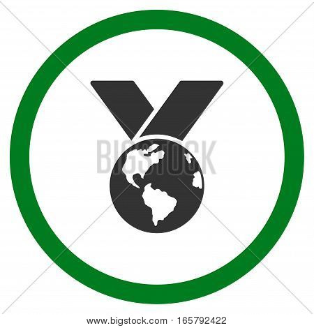 World Medal vector bicolor rounded icon. Image style is a flat icon symbol inside a circle, green and gray colors, white background.