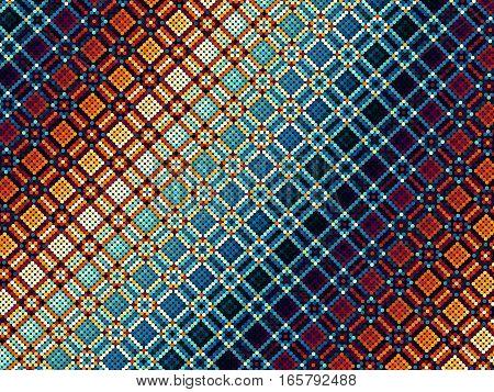Unusual geometrical plaid of polka dot pattern