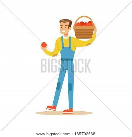 Man With Basket Of Fresh Apples, Farmer Working At The Farm And Selling On Natural Organic Product Market. Cartoon Happpy Character Growing Crops And Animals Professionally Vector Illustration.