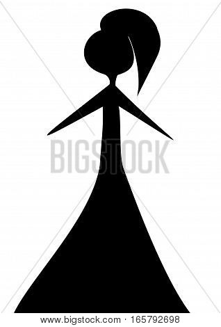 logo black woman in a dress on a white background