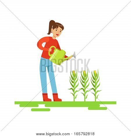 Woman Watering Corn Crops, Farmer Working At The Farm And Selling On Natural Organic Product Market. Cartoon Happpy Character Growing Crops And Animals Professionally Vector Illustration.