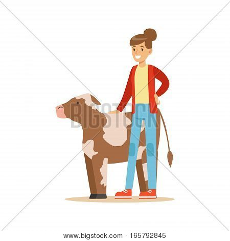 Woman Standing Next To Cow Calf, Farmer Working At The Farm And Selling On Natural Organic Product Market. Cartoon Happpy Character Growing Crops And Animals Professionally Vector Illustration.