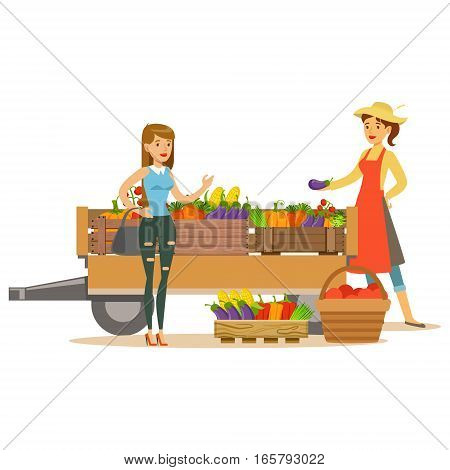 Woman With Wooden Cart With Vegetables And Client, Farmer Working At The Farm And Selling On Natural Organic Product Market. Cartoon Happpy Character Growing Crops And Animals Professionally Vector Illustration.