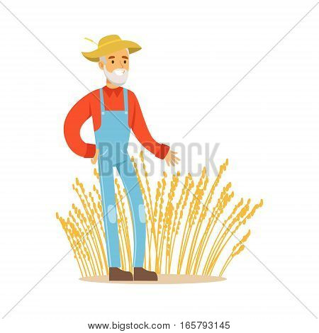 Old Man With Wheat Ear Crops, Farmer Working At The Farm And Selling On Natural Organic Product Market. Cartoon Happpy Character Growing Crops And Animals Professionally Vector Illustration.