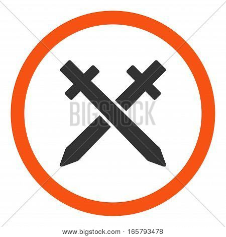 Crossing Swords vector bicolor rounded icon. Image style is a flat icon symbol inside a circle, orange and gray colors, white background.