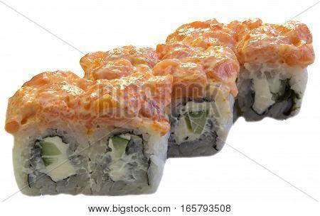 sushi rolls Japanese food on a white background