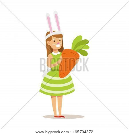 Girl In Rabbit Costume Holding Giant Carrot, Children In Costume Party Illustration With Happy Smiling Kid At Festival Celebration. Smiling Cartoon Vector Character Having Fun And Dressing Up.