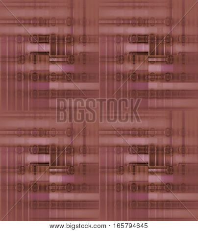 Abstract geometric seamless background. Regular ellipses and stripes pattern in pink, violet and brown shades blurred and shifted.