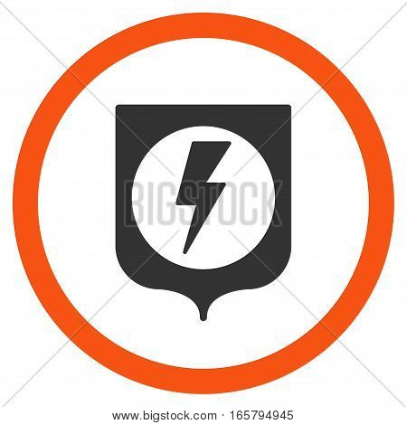 Electric Protection vector bicolor rounded icon. Image style is a flat icon symbol inside a circle, orange and gray colors, white background.