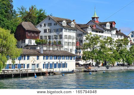 Zurich Switzerland. Very beautiful quay of the Old Town