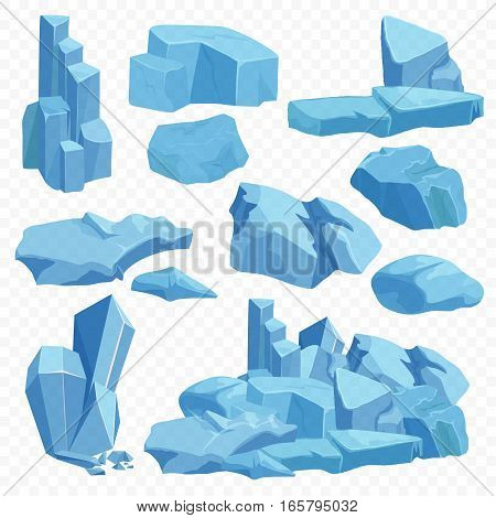 Blue bright crystals. Poly mineral stone rocks. Emerald crystal, quartz ruby crystal, diamond game stones set on the transperant background