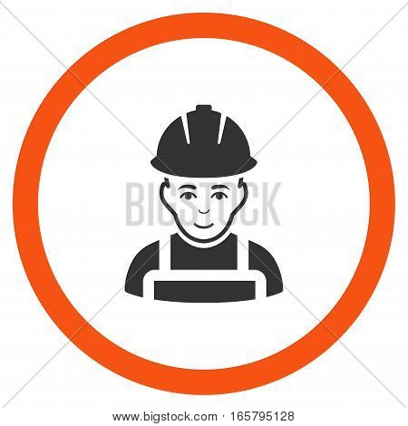 Glad Worker vector bicolor rounded icon. Image style is a flat icon symbol inside a circle, orange and gray colors, white background.