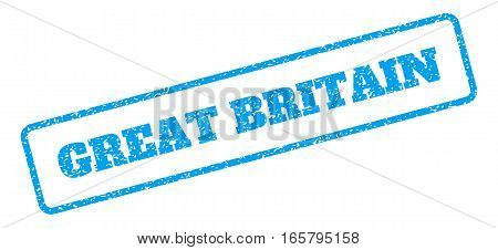 Blue rubber seal stamp with Great Britain text. Vector caption inside rounded rectangular banner. Grunge design and unclean texture for watermark labels. Inclined sign on a white background.