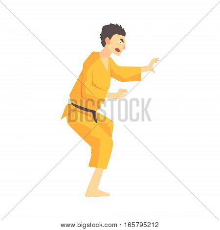 Man In Yellow Kimono Kung Fu Martial Arts Fighter, Fighting Sports Professional In Traditional Fighting Sportive Clothing. Fun Geometric Cartoon Character Doing Fighting Element In Special Outfit.