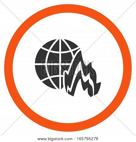 Global Fire vector bicolor rounded icon. Image style is a flat icon symbol inside a circle, orange and gray colors, white background.