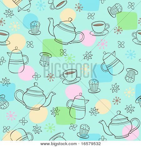 Coffee & Tea Seamless Repeat Pattern Vector Illustration