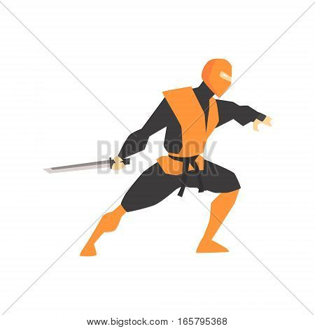 Japanese Ninja With Katana Sword Martial Arts Fighter, Fighting Sports Professional In Traditional Fighting Sportive Clothing. Fun Geometric Cartoon Character Doing Fighting Element In Special Outfit.