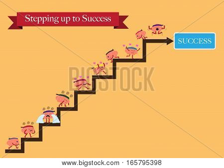 brains cartoon character vector illustration stepping up to success (conceptual image about person works for his or her dream and some helps others to reach an achievement)
