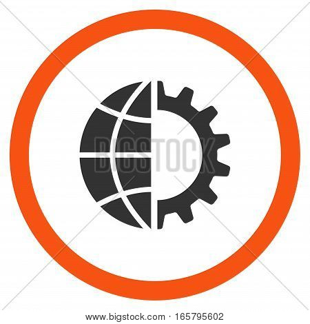 Global Industry vector bicolor rounded icon. Image style is a flat icon symbol inside a circle, orange and gray colors, white background.