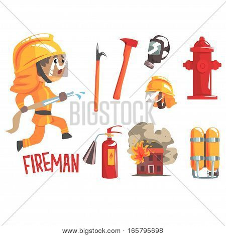 Boy Fireman, Kids Future Dream Fire Fighter Professional Occupation Illustration With Related To Profession Objects. Smiling Child Carton Character With Job Career Attributes Around Cute Vector Drawing.