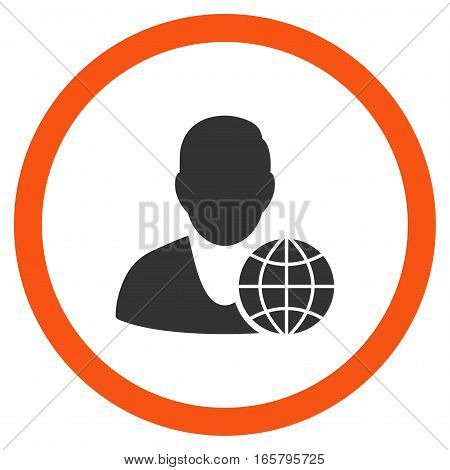 Global Manager vector bicolor rounded icon. Image style is a flat icon symbol inside a circle, orange and gray colors, white background.