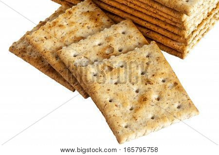 some whole wheat crackers on white background