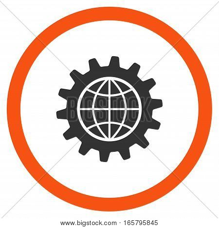 Global Options vector bicolor rounded icon. Image style is a flat icon symbol inside a circle, orange and gray colors, white background.