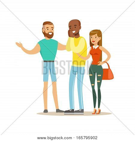 Happy Three Best Friends Having Good Time Together, Part Of Friendship Illustration Series. Smiling Cartoon Vector Characters Spending Time With Their Buddies And Mates.