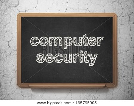 Safety concept: text Computer Security on Black chalkboard on grunge wall background, 3D rendering