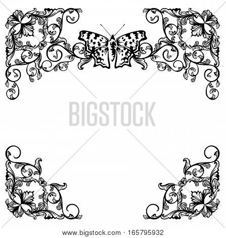 butterfly and floral garden black and white vector frame design set