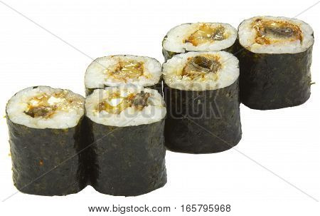 sushi rolls Japanese food on a white background