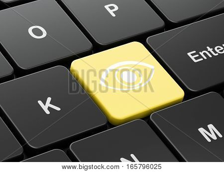 Protection concept: computer keyboard with Eye icon on enter button background, 3D rendering