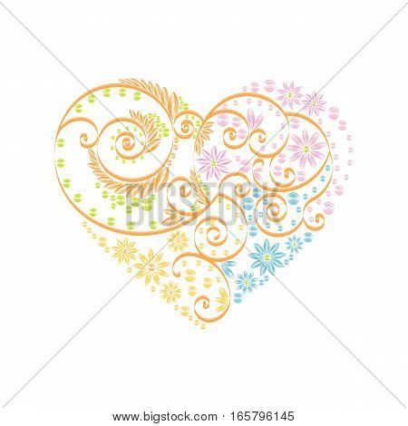Stock vector illustration isolated heart decor pink, blue, orange, green quilling multicolored patterns on white background for greetings card, printed materials, design element, Happy Valentines Day