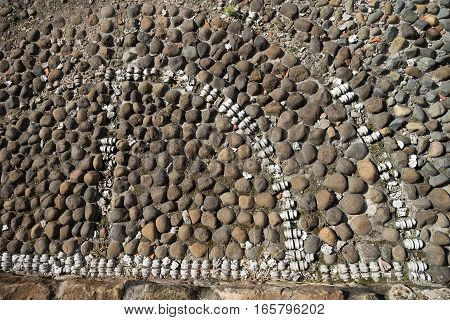 colonial cobblestone ground in Casco Viejo with natural animal bone inserts in Panama