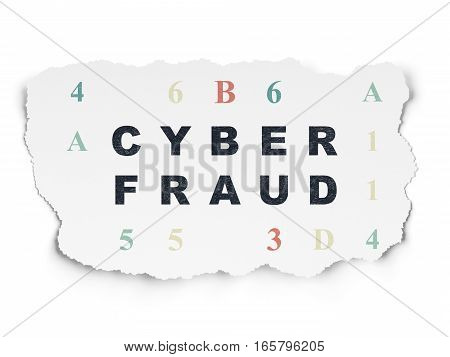 Protection concept: Painted black text Cyber Fraud on Torn Paper background with  Hexadecimal Code