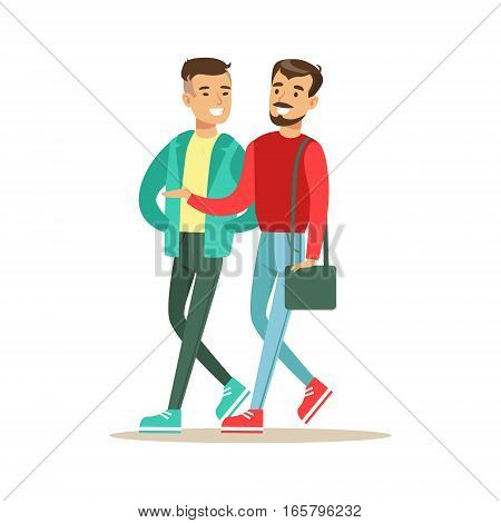 Happy Best Friends Walking Outside Talking , Part Of Friendship Illustration Series. Smiling Cartoon Vector Characters Spending Time With Their Buddies And Mates.